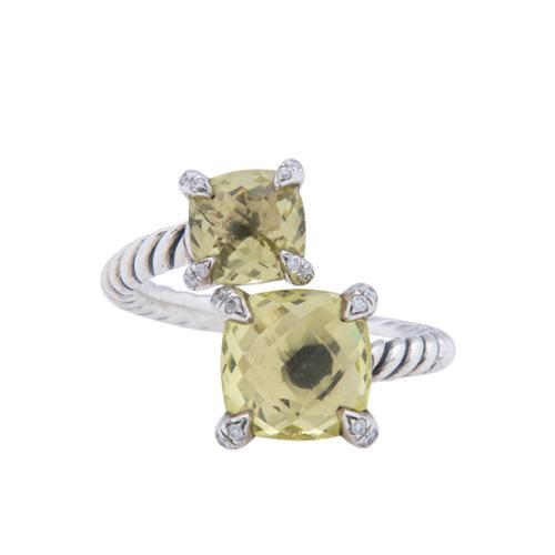 David Yurman Sterling Silver Diamond Lemon Citrine Chatelaine Bypass Ring - Size