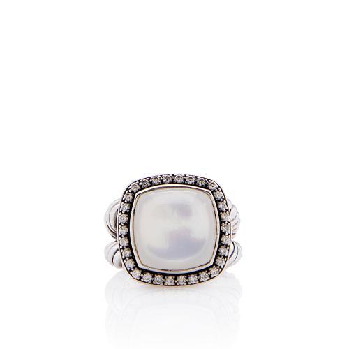 David Yurman Sterling Silver Diamond Moon Quartz 14mm Albion Ring - Size 8