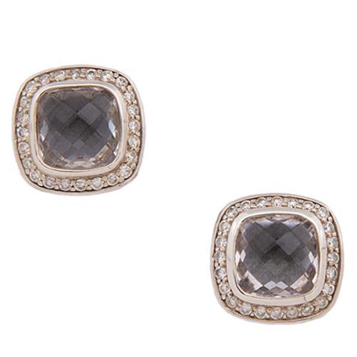David Yurman Sterling Silver Diamond White Topaz Earrings
