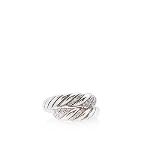 David Yurman Sterling Silver Diamond Willow Ring - Size 5