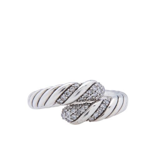David Yurman Sterling Silver Diamond Willow Ring - Size 8 1/2