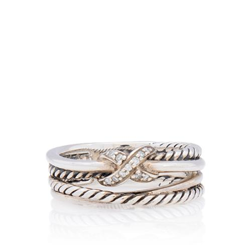 David Yurman Sterling Silver Diamond X Crossover Ring - Size 5 1/2