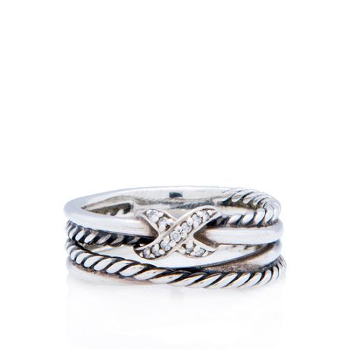 David Yurman Sterling Silver Diamond X Crossover Ring - Size 6