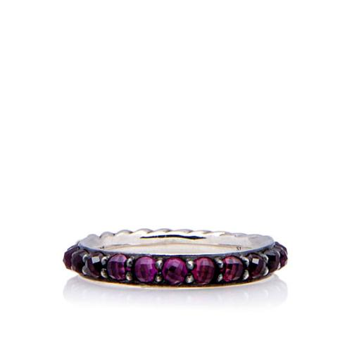 David Yurman Sterling Silver Garnet Berries Cable Ring - Size 6