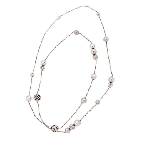David Yurman Sterling Silver Hammered Bead Long Necklace