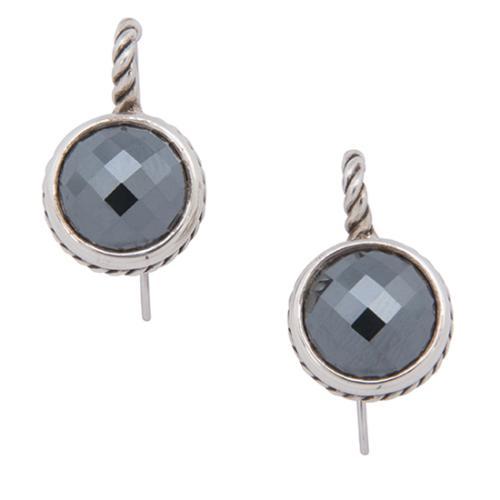 David Yurman Sterling Silver Hematite Classics Drop Earrings