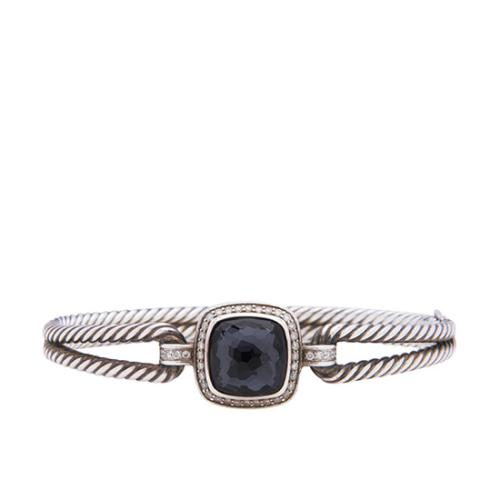 David Yurman Sterling Silver Indian Blue Sapphire Diamond Albion Bracelet
