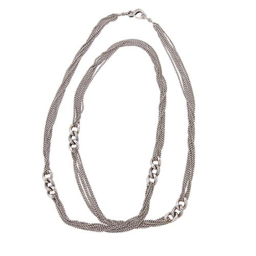 David Yurman Sterling Silver Multi-Strand Curblink Long Necklace