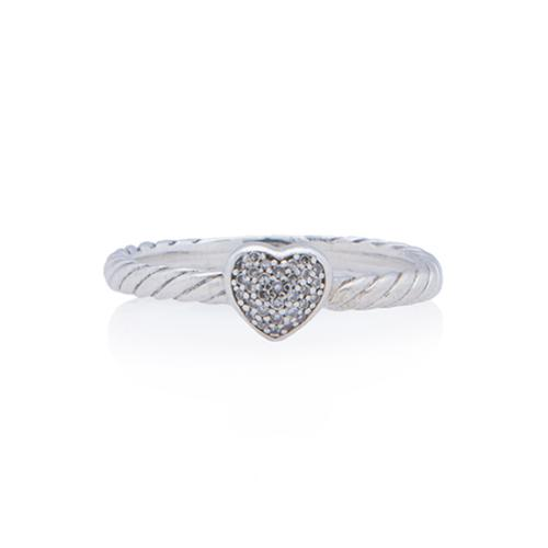 David Yurman Sterling Silver Pave Diamond Petite Heart Ring - Size 6 1/2
