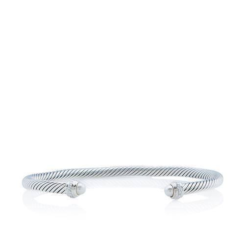David Yurman Sterling Silver Pearl Diamond Cable Classics 4mm Bracelet