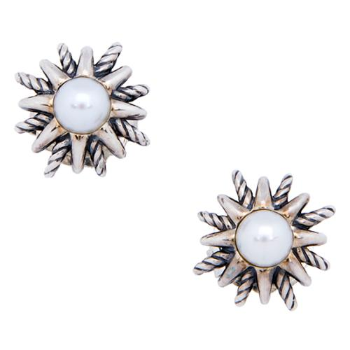 David Yurman Sterling Silver Pearl Starburst Earrings