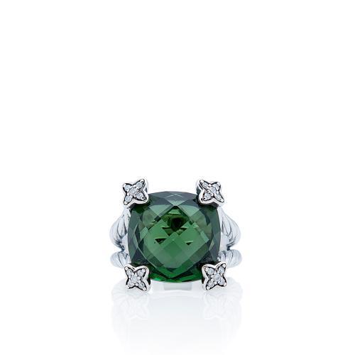 David Yurman Sterling Silver Prasoilite Diamond Cushion On Point Ring - Size 6