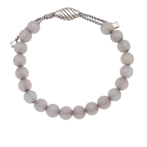 David Yurman Sterling Silver Rose Quartz Spiritual Bead 8mm Bracelet