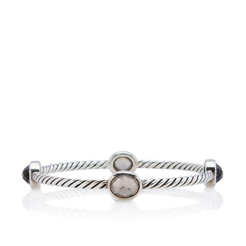 David Yurman Sterling Silver Smoky Quartz Classics Four Station Bangle