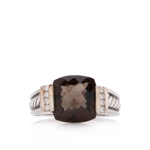 David Yurman Sterling Silver Smoky Quartz Diamond Deco Cushion Ring - Size 6