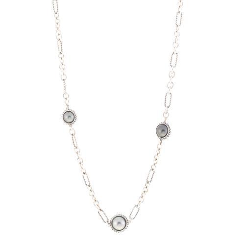 David Yurman Tahitian Grey Pearl Cable Wrap Chain Necklace