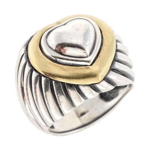 Davis Yurman Sterling Silver Cable Hearts Ring