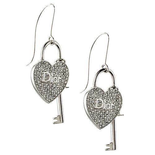 Dior Heart Lock & Key Earrings