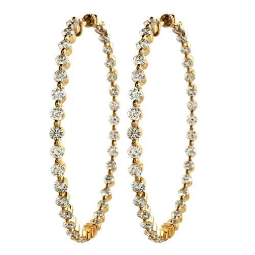 Gabriel & Co 7.85 Carat Diamond Hoop Earrings