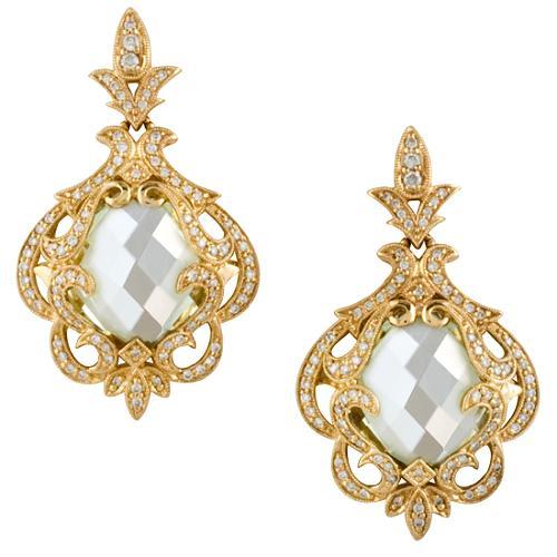 Gabriel & Co Green Amethyst & Diamond Earrings