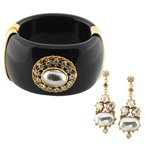 Gerard Yosca Black Cuff & Pearl Drop Earrings