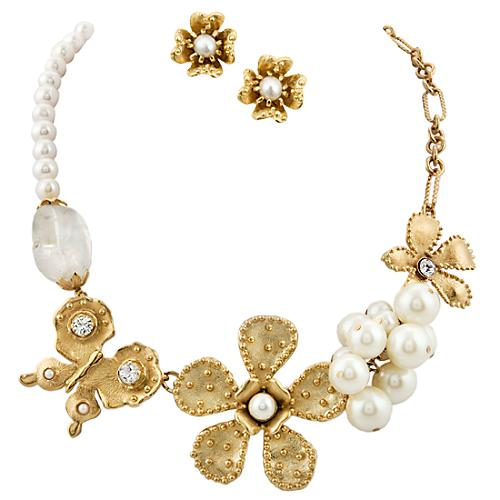 Gerard Yosca Butterfly Pearl Colar Necklace & Earring Set