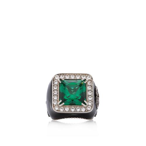 Gucci Crystal Enamel Cocktail Ring - Size 7