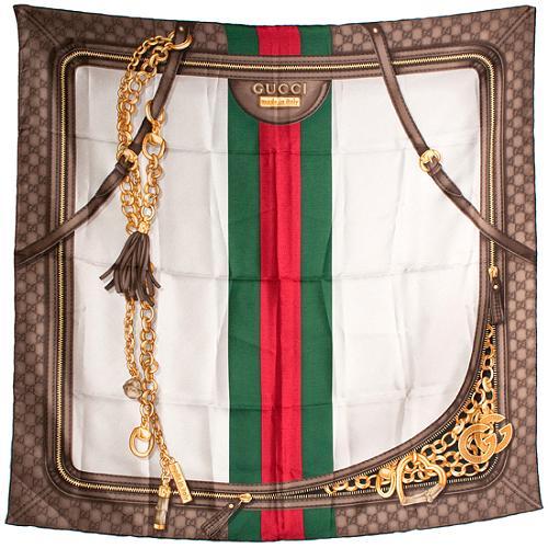 Gucci Icon Print Foulard Silk Scarf