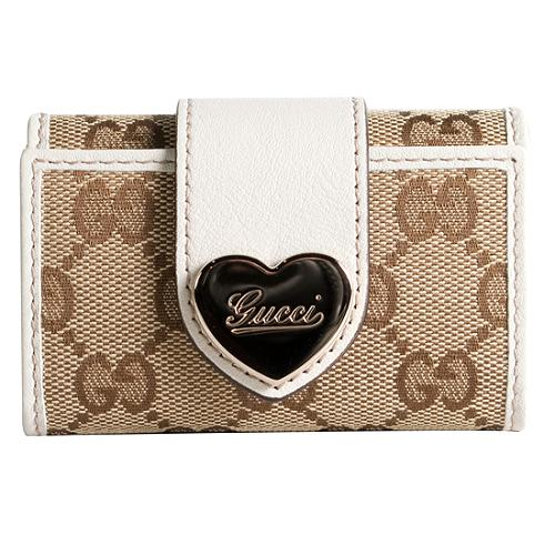 Gucci Key Case with Engraved Script Logo Heart Wallet