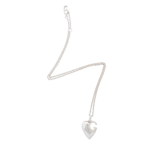 Gucci Sterling Silver Charlotte Cutout G Heart Necklace