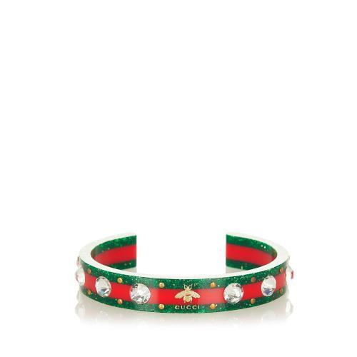 Gucci Web Crystal Bee Embellished Cuff Bracelet