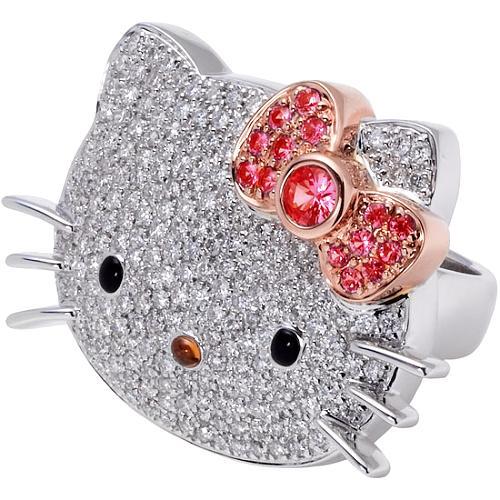 Hello Kitty Diamond and Pink Sapphire Ring