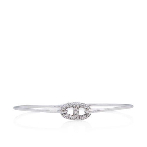 Hermes 18k White Gold Diamond Ronde Chaine d'Ancre Bracelet