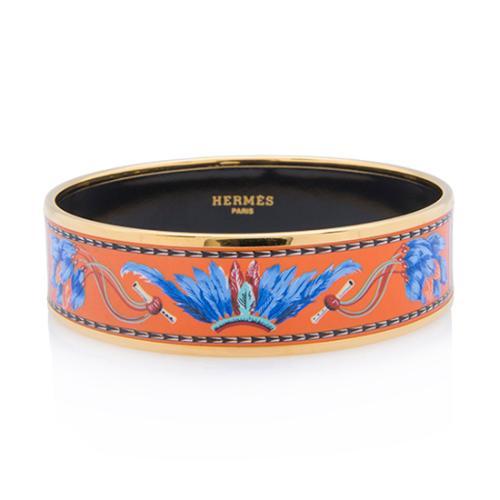 Hermes Brazil Wide Printed Enamel Bracelet