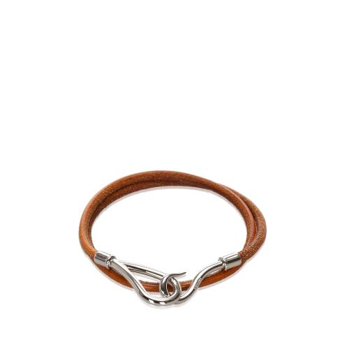 Hermes Leather Jumbo Hook Double Tour Bracelet