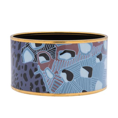 Hermes Printed Enamel Grand Fonds Extra Wide Bracelet