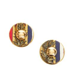 Hermes Round Striped Clip On Earrings