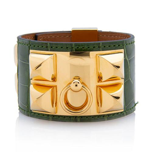 Hermes Shiny Alligator Collier de Chien Bracelet