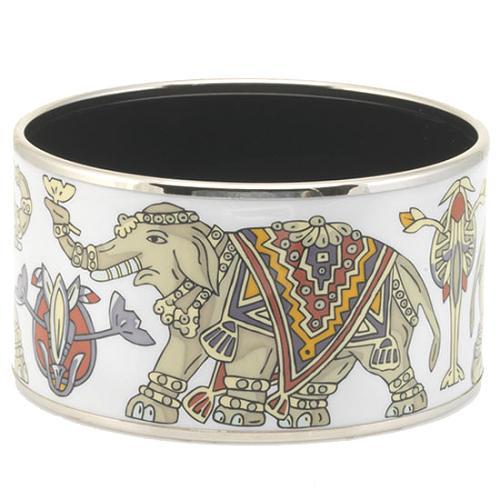 Hermes Small White Elephant Enamel Bangle Bracelet