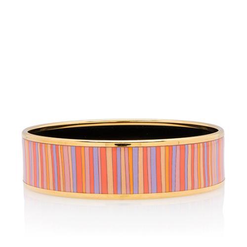 Hermes Stripes Wide Printed Enamel Bracelet
