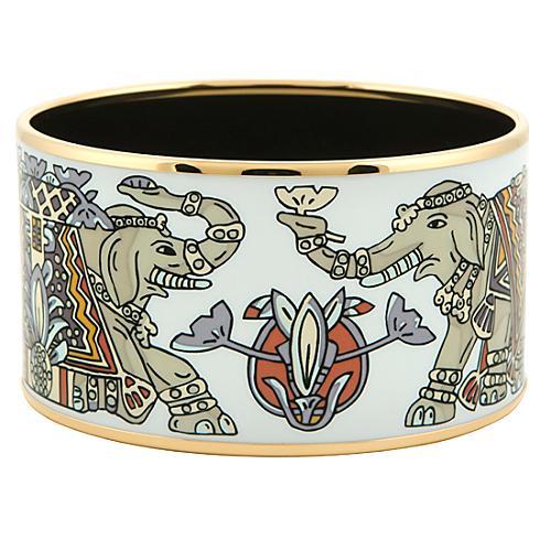 Hermes White Elephant Enamel Bangle Bracelet