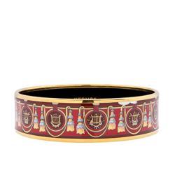 Hermes Wide Printed Enamel Bracelet