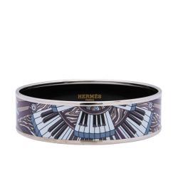 Hermes Wide Printed Enamel Piano Bracelet