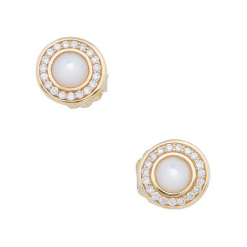 Ippolita 18k Yellow Gold Diamond Mother Of Pearl Lollipop Mini Stud Earrings
