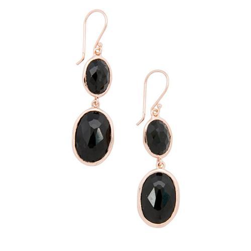 Ippolita Rose Gold Plated Sterling Silver Black Onyx Drop Earrings