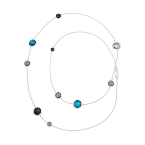 Ippolita Sterling Silver London Blue Topaz Onyx Wonderland Lollipop Necklace