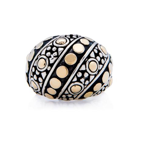 John Hardy 18k Yellow Gold Sterling Silver Dots Dome Ring - Size 7