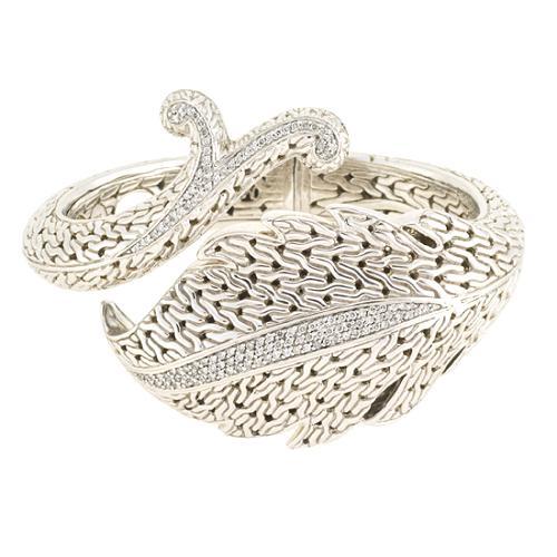 John Hardy Carved Pave Ayu Leaf Vine Cuff Bracelet