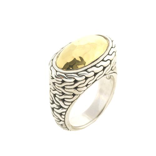 John Hardy Hammered Gold Oval Ring - Size 8