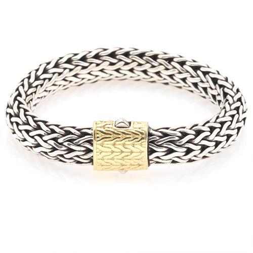 John Hardy Medium Chain Bracelet (7.5mm) with Gold Chain Clasp